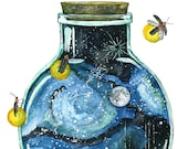 "Galaxy Painting, Watercolor Painting, Night Sky, Bottle, Galaxy, Stars, Moon, Firefly, Watercolor Print, Print titled,""Bottling the Stars"""