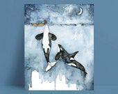 Orca Painting, Watercolor Painting, Whale Painting, Orca and Girl, Killer Whale, Whale Nursery, Whale Print, Boy and Girl Versions Available
