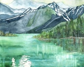 Mountain Lake Painting - Print of Mountain Landscape, Forest Print, Watercolor Landscape, Abstract Art