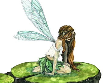 """Watercolor Fairy Painting, Watercolor Painting, Fairy Print, Fairy Painting, Fairy Art, Woodland, Wings, Print titled, """"Water Lily Fairy"""""""