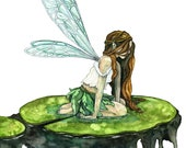 "Watercolor Fairy Painting, Watercolor Painting, Fairy Print, Fairy Painting, Fairy Art, Woodland, Wings, Print titled, ""Water Lily Fairy"""