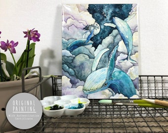 """Original Watercolor Whale Painting - Painting titled, """"Faraway Skies"""", Original Art, Original Painting"""