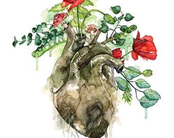 """Watercolor Painting, Anatomical Heart, Anatomical Heart Print, Botanical, Human Heart, Heart, Watercolor Flowers, Print titled """"Overgrown"""""""