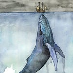 "Whale Painting, Watercolor Painting, Whale Print, Whale and Boat, Whale Art, Whale Nursery, Humpback Whale, Print titled, ""Fathoms Below"""