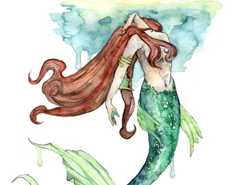 "Mermaid Painting, Watercolor Painting, Mermaid Print, Mermaid Tail, Mermaid Art, Mermaid Decor, Beach Decor, Print titled,""To the Surface"""