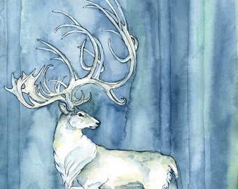 """Watercolor Painting, White Stag Painting, Watercolor Print, Elk, Deer, Patronus, White Stag, Fantasy Art, Print titled, """"Hart of the Forest"""""""