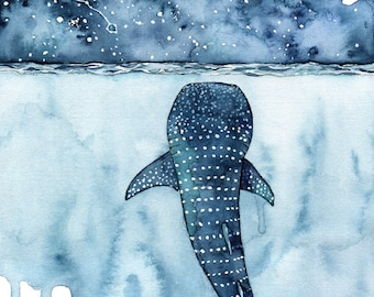 """Watercolor Painting, Whale Shark Painting, Whale Painting, Whale Print, Whale Art, Whale Print, Beach Decor, Print titled, """"Stars Collide"""""""