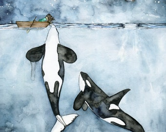 "Orca Painting, Watercolor Painting, Whale Painting, Orca and Girl, Killer Whale, Whale Nursery, Whale Print, Print titled,""Poseidon's Touch"""