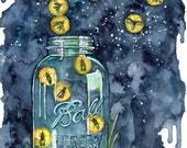 "Watercolor Firefly Jar Painting - Print titled, ""A Summer Night""Lightning Bug, Firefly Decal, Firefly Art, Night Sky, Mason Jar, Firefly Jar"