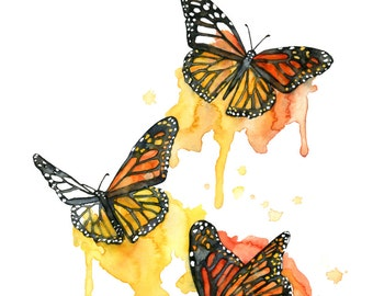 """Watercolor Painting, Butterfly Painting, Butterfly Print, Watercolor Print, Butterflies, Butterfly Art, Print titled, """"Outside the Lines"""""""
