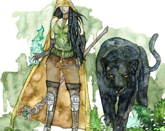 """Druid Painting, Watercolor Art, Fantasy Art, Fantasy Creatures, Panther, Druid, Fantasy Painting, Black Panther, Print titled, """"The Druid"""""""