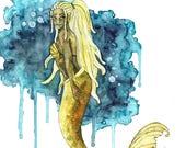 Watercolor Mermaid Painti...