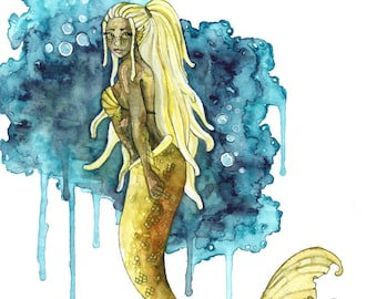 "Watercolor Mermaid Painting - Print titled, ""Calm Depths"", Mermaid Art, Mermaid Tail, Mermaid Print, Mermaid Wall Art, Mermaid Painting, Art"