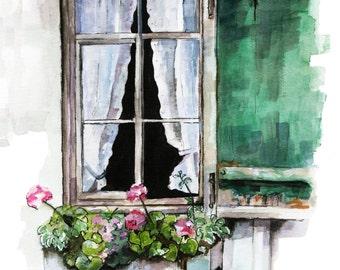 "Window Painting - Print from Original Watercolor Painting, ""Green Window"", Garden Decor, Geraniums"