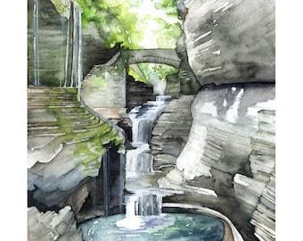 "Watkins Glen Painting - Print from my Original Watercolor Painting, ""Watkins Glen"", Woodland Decor, Forest, Watercolor Landscape, Waterfall"