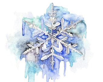 """Snowflake Painting - Print from Original Watercolor Painting, """"Soft as Snow"""", Winter, Blue, Frozen"""