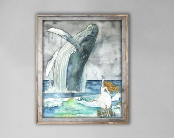 XLARGE Watercolor Dancer and Whale Painting - Sizes 16x20 and up, Humpback, Whale Art, Whale Painting, Whale Nursery, Whale Print