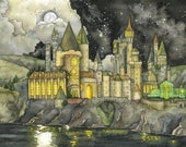 Wizard School Painting - Print of Fantasy Castle, Wizard Castle, Fantasy Art, Magic, Wizarding School, Starry Night, Night Sky