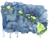 "Watercolor Hawaiian Islands Print - Painting titled, ""Islands of Hawaii"", Hawaii, Hawaii Art, Map, Hawaii Map, Hawaiian Decor, Map Art"
