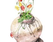 "Poppy Painting - Print from Original Watercolor Painting, ""Potted Poppies"", Watercolor Flowers, Red Poppies, Botanical"
