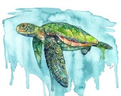 "Sea Turtle Painting, Watercolor Painting, Sea Turtle Print, Sea Turtle Wall Art, Beach Decor, Print, Green Sea Turtle, Print titled, ""Honu"""