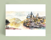 """Fantasy Castle Painting, Wizard School, Wizard Castle, Fantasy Art, Castle, Wizard, Fantasy Print, Magic- Print titled,""""I Open at the Close"""""""