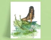 """Mermaid Painting, Watercolor Painting, Mermaid Art, Mermaid Decor, Mermaid Print, Nursery Art, Waterlily, Print titled, """"The River Guardian"""""""
