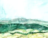 "Abstract Hillside - Print from Original Watercolor Painting, ""Tower HIlls"", Wall Decor, Watercolor Landscape, Green Abstract"