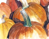 "Pumpkin Painting - Print from Original Watercolor Painting,""Pumpkin Patch"", Fall Decor, Orange Pumpkin, Halloween"