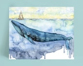 Whale Painting - Print of Blue Whale under Sailboat, Watercolor Painting, Whale Art