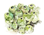 "Sea Sponge Painting - Print from Original Watercolor Painting, ""Green Sea Sponge"", Ocean Art, Green Seaweed, Under the Sea"