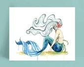 """Watercolor Mermaid Painting, Mermaid Print, Mermaid Decor, Mermaid Art, Mermaid Wall Art, Ocean Decor, Sea, Print titled, """"The Sea Floor"""""""