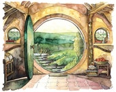 "Bag End Painting, Watercolor Painting, Bag End Art, Lord, Fantasy Art, Jrr, Rings, Fantasy Painting, Print titled, ""In a Hole in the..."""