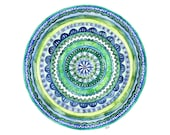 "Watercolor Mandala Painting - Print titled, ""Green Tranquility"", Watercolor Print, Watercolor Art, Mosaic, Blue, Green, Mandala Art, Yoga"
