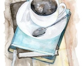 "Coffee Mug Painting - Print from Original Watercolor Painting, ""Relax"", Kitchen Decor, Coffee Cup, Books, Coffee Art"
