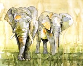 "Watercolor Painting, Elephant Painting, Elephant Print, Elephant Decor, Elephant Nursery, Watercolor Print, Print Titled ""Savannah March"""