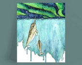"""Watercolor Painting, Narwhal Painting, Narwhal, Narwhal Art, Whale Nursery, Whale, Whale Print, Narwhal Baby,Print titled, """"Northern Lights"""""""