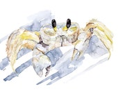 "Ghost Crab Painting - Print from Original Watercolor Painting, ""Ghost Crab Hunting"", Beach Decor, Crab, Under the Sea"