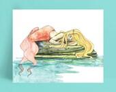 Mermaid Watercolor Painting - Print of Mermaid Sleeping, Watercolor Painting, Mermaid Art