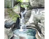 "Watkins Glen Painting - Print from my Original Watercolor Painting, ""Watkins Glen"", Woodland Decor, Forest, Watercolor Landscape, Waterfall"