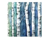 "Watercolor Birch Trees Painting - Print Titled, ""Blue Birch Forest"", Birch Tree Art, Birch Tree Painting, Fall Decor, Birch Tree Wall Decal"