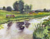 "Farm Painting - Print from my Original Watercolor Painting,""Cow Pasture"", Farm, Barn, Cow, Watercolor Landscape"