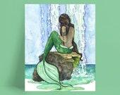 """Mermaid Painting, Watercolor Painting, Mermaid Art, Mermaid Decor, Mermaid Print, Nursery Art, Waterfall Painting, Print titled, """"Cascade"""""""