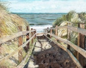 "Beach Painting, Print from Original Watercolor Painting, ""Beach Walk"", Ocean Decor, Blue Sea, Beach Dunes"