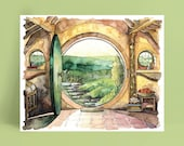 """Bag End Painting, Watercolor Painting, Bag End Art, Lord, Fantasy Art, Jrr, Rings, Fantasy Painting, Print titled, """"In a Hole in the..."""""""