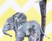 "Elephant Nursery Print - Painting Titled, ""Baby Elephant and Mother"", Nursery Decor, Gray and Yellow, Elephant Baby Shower, Elephant Decor"