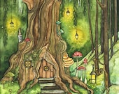 "Enchanted Forest Painting, Fantasy Art, Fairy House, Fantasy, Woodland Decor, Woods, Forest, Fairy Door, Print titled ""Enchanted Forest"""
