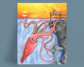 """Squid Art, Watercolor Painting, Squid Painting, Squid and Boy, Giant Squid, Nursery Art, Nautical Art, Print titled, """"Twilight Thievery"""""""