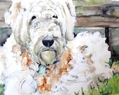 "Dog Painting - Print from Original Watercolor Painting, ""Chewy"", Goldendoodle, Pet Decor, Dog"