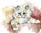 "Kitten Painting - Print from Original Watercolor Painting, ""The Colorful Cat"", Pet Decor, Watercolor Cat, Cat Print"